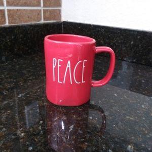 Rae Dunn Red PEACE Christmas mug